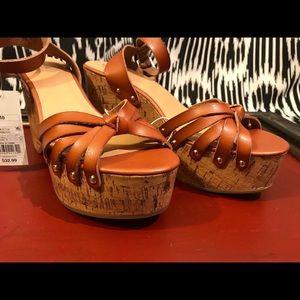 Wood Platform Cork Wedge Strap Sandals